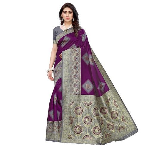 Refreshing Purple - Grey Colored Festive Wear Woven Jacquard Saree