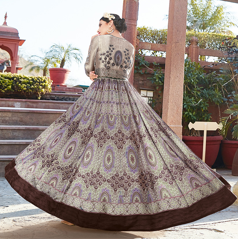 Sizzling Brown Printed Designer Japan Satin Anarkali Suit