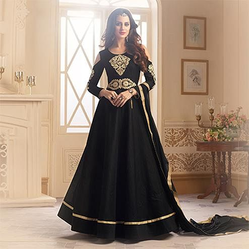 Stunning Black Colored Designer Embroidered C-N Banglori Silk Anarkali Suit
