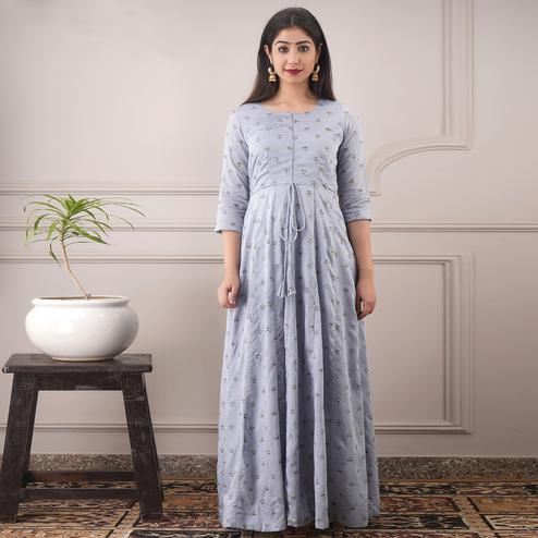 Fantastic Light Grey Colored Partywear Foil Printed Pure Chanderi Gown