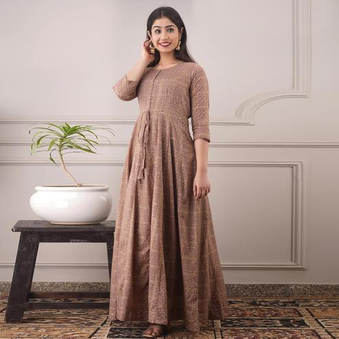 Amazing Light Brown Colored Partywear Foil Printed Pure Chanderi Gown