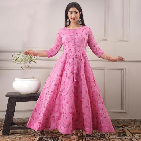 Gorgeous Pink Colored Partywear Foil Printed Pure Chanderi Gown