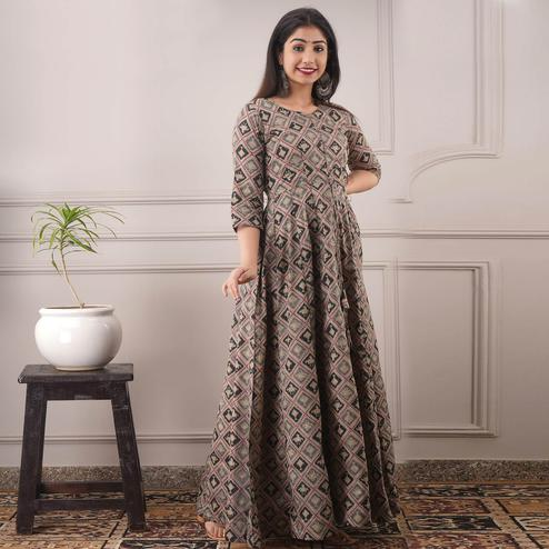 Blissful Multi Colored Partywear Foil Printed Pure Chanderi Gown