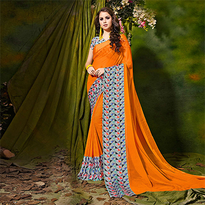 Orange Designer Printed Georgette Saree