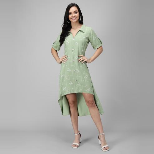 OMADAM - Lime Green Colored Casual Printed Rayon Dress