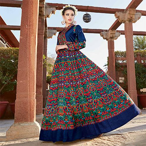 Stunning Navy Blue Printed Designer Japan Satin Anarkali Suit