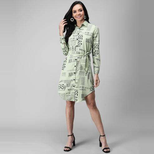 OMADAM - Lime Green Colored Casual Printed Crepe Dress