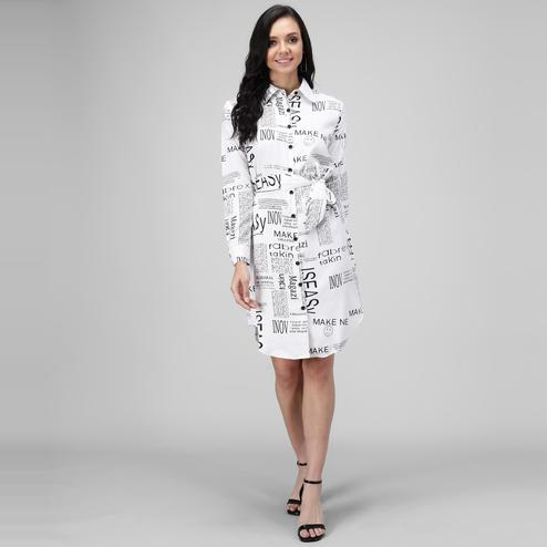 OMADAM - White Colored Casual Printed Crepe Dress
