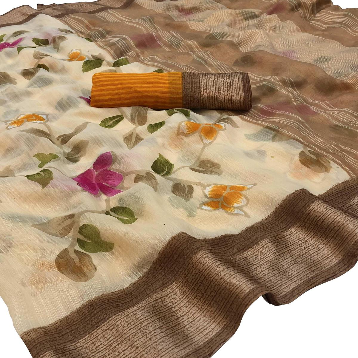 Charming Brown Colored Casual Wear Floral Printed Lycra Silk Saree