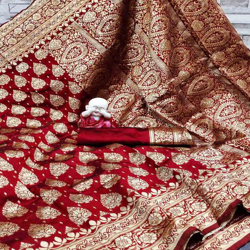 Lovely Maroon Colored Festive Wear Woven Banarasi Silk Saree