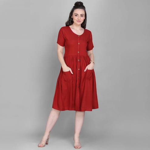 Dazzling Maroon Colored Casual Wear Solid Viscose Rayon Western Dress