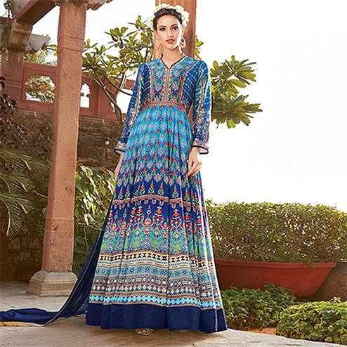 Mesmerising Blue Printed Designer Japan Satin Anarkali