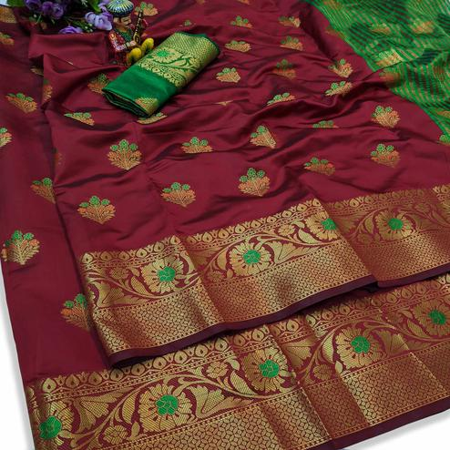 Desirable Maroon Colored Festive Wear Woven Lichi Silk Saree