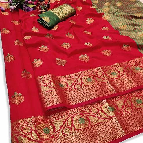 Pleasant Red Colored Festive Wear Woven Lichi Silk Saree