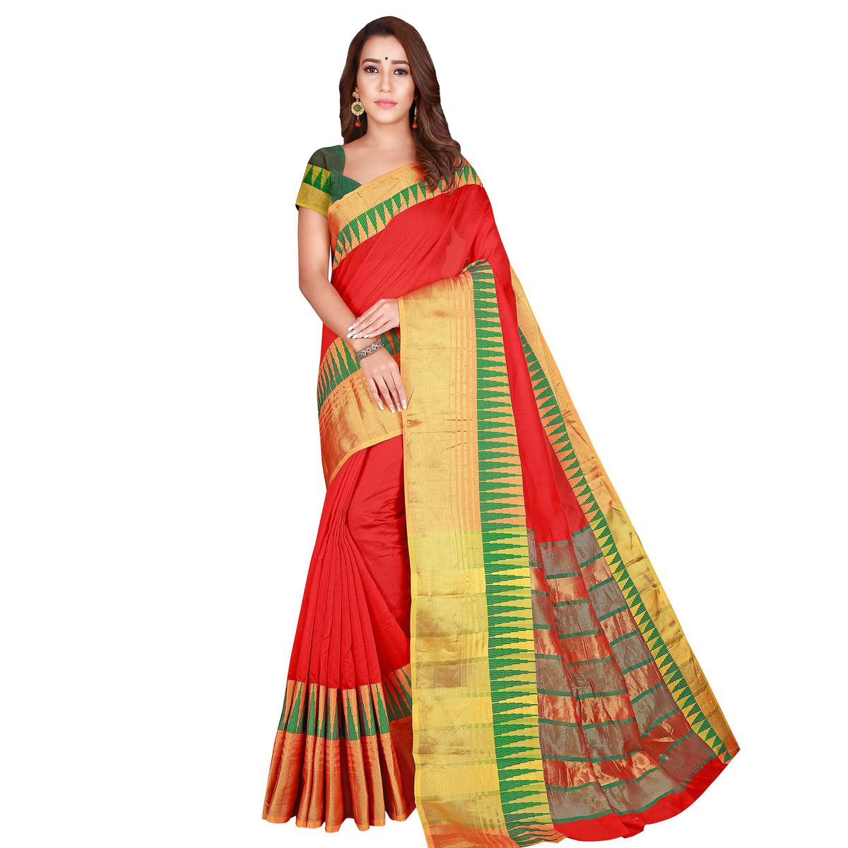 Energetic Red Colored Casual Wear Printed Cotton Handloom Saree
