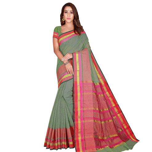 Glowing Olive Green Colored Casual Wear Printed Cotton Handloom Saree