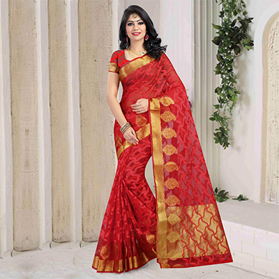 Red Weaving Work Art Silk Saree