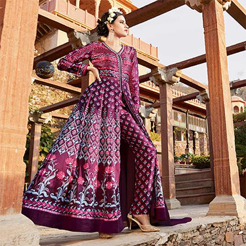 Ravishing Purple Printed Designer Japan Satin Anarkali