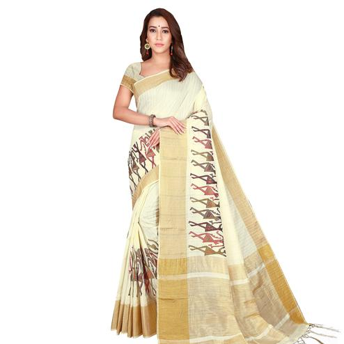 Mesmeric Cream Colored Festive Wear Woven Silk Saree