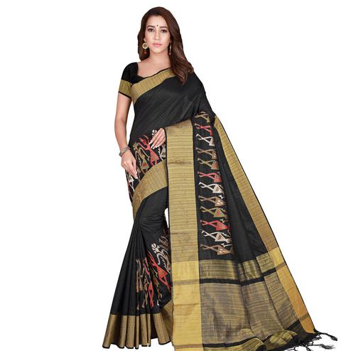 Unique Black Colored Festive Wear Woven Silk Saree