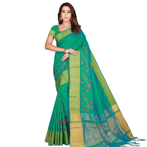 Hypnotic Green Colored Festive Wear Woven Silk Saree