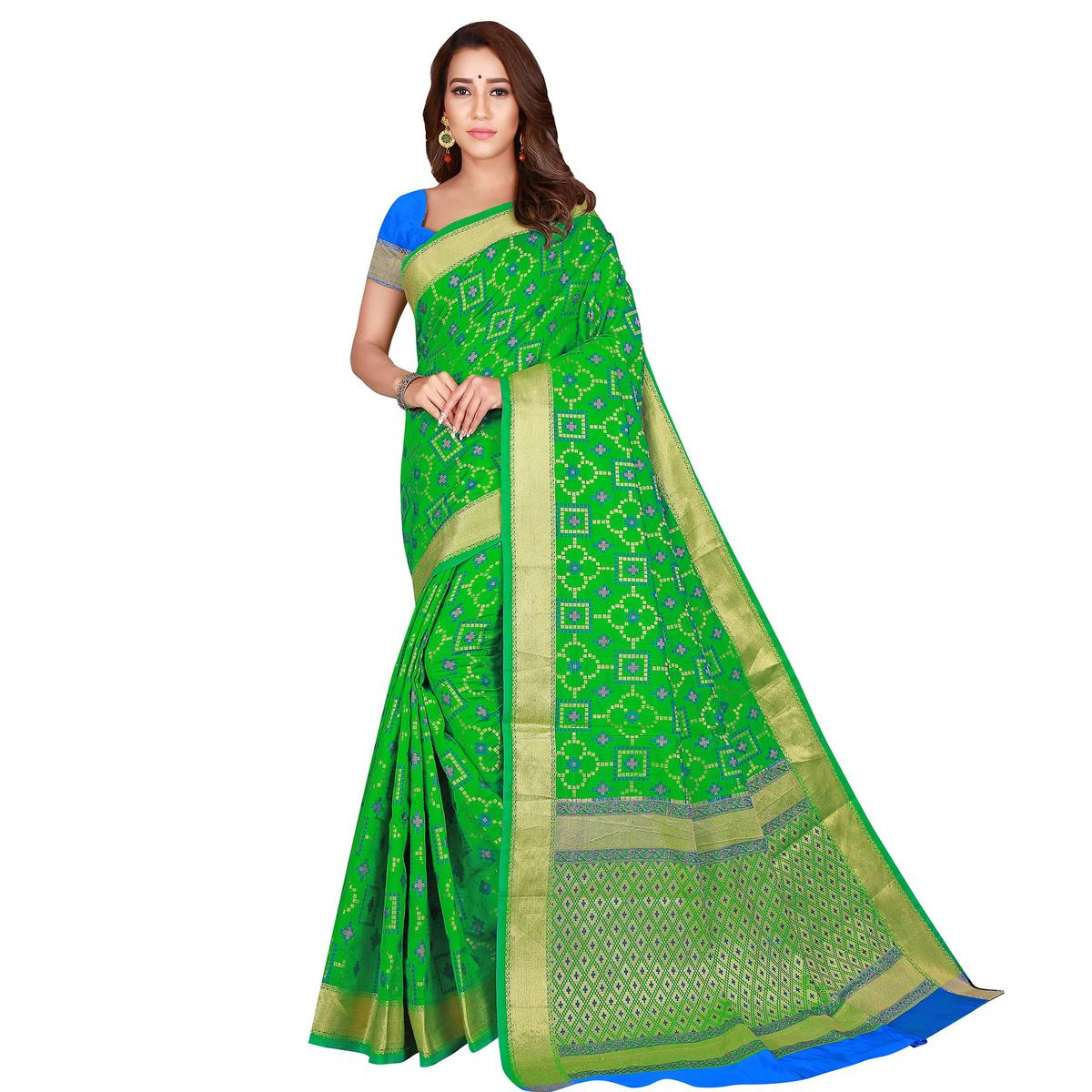 Excellent Green Colored Festive Wear Woven Patola Silk Saree
