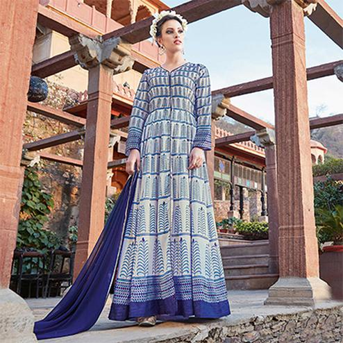 Blooming Blue Printed Designer Japan Satin Anarkali