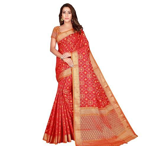 Preferable Red Colored Festive Wear Woven Patola Silk Saree