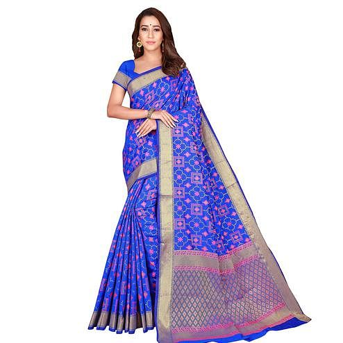 Marvellous Blue Colored Festive Wear Woven Patola Silk Saree