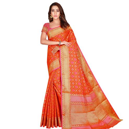 Flamboyant Orange Colored Festive Wear Woven Patola Silk Saree