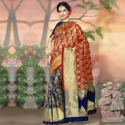Alluring Red - Blue Colored Festive Wear Woven Crystal Silk Saree