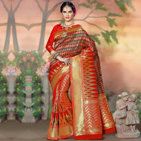 Sensational Red Colored Festive Wear Woven Crystal Silk Saree