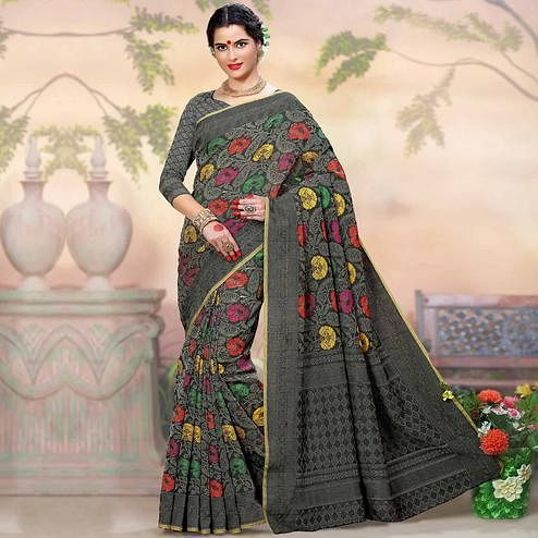 Flaunt Dark Grey Colored Festive Wear Woven Crystal Silk Saree