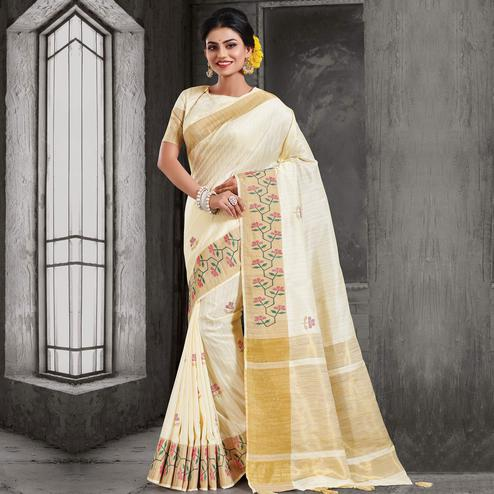 Stunning Offwhite Colored Festive Wear Woven Crystal Silk Saree