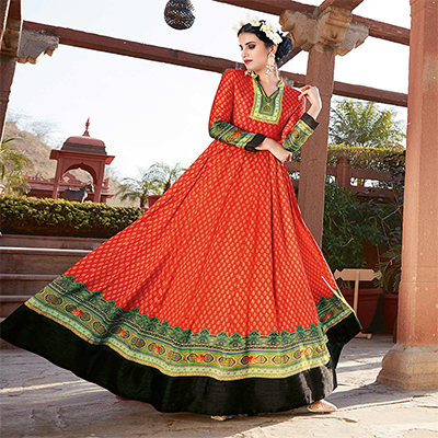 Elegant Red Printed Designer Japan Satin Anarkali