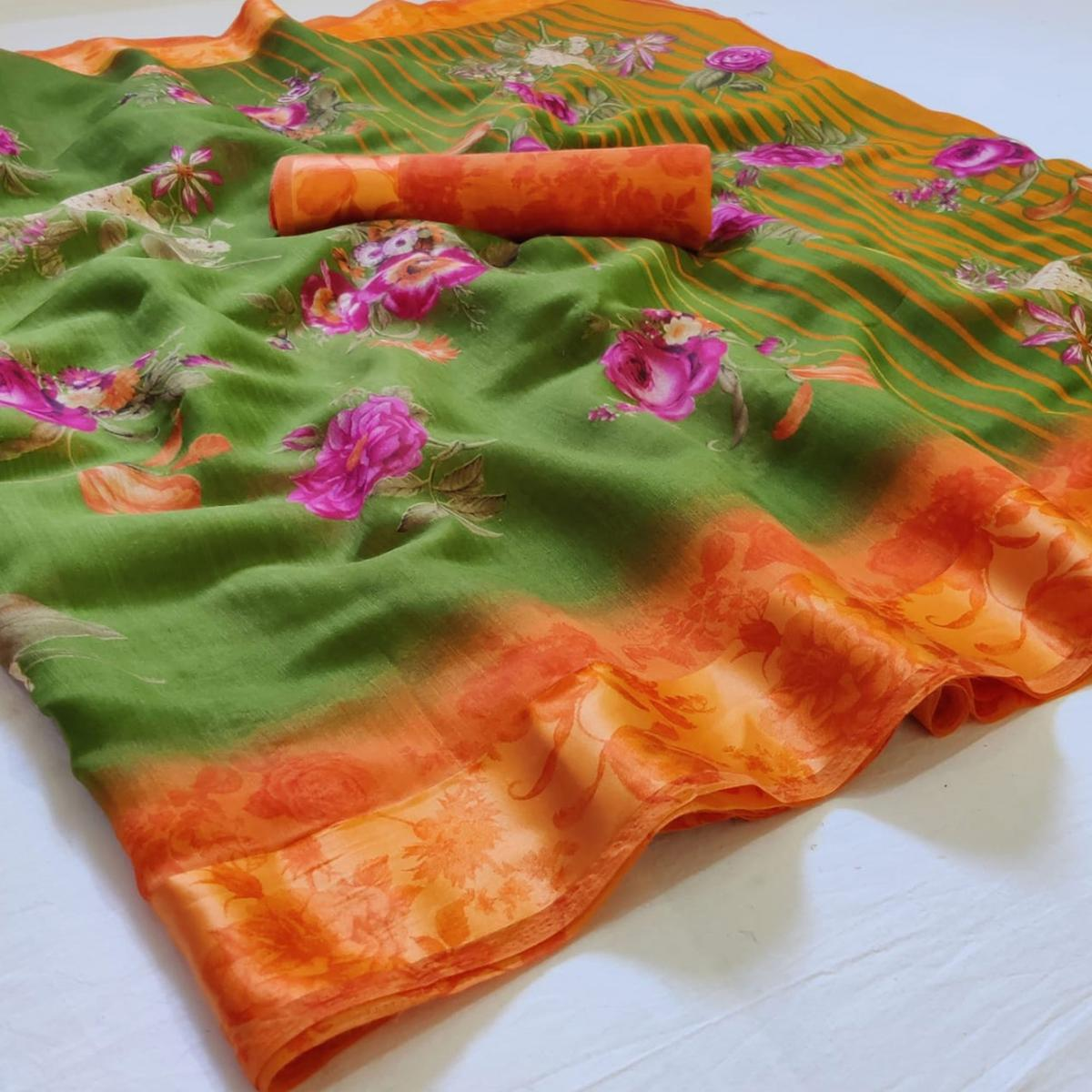 Beautiful Parrot Green Colored Casual Wear Floral Printed Linen Saree