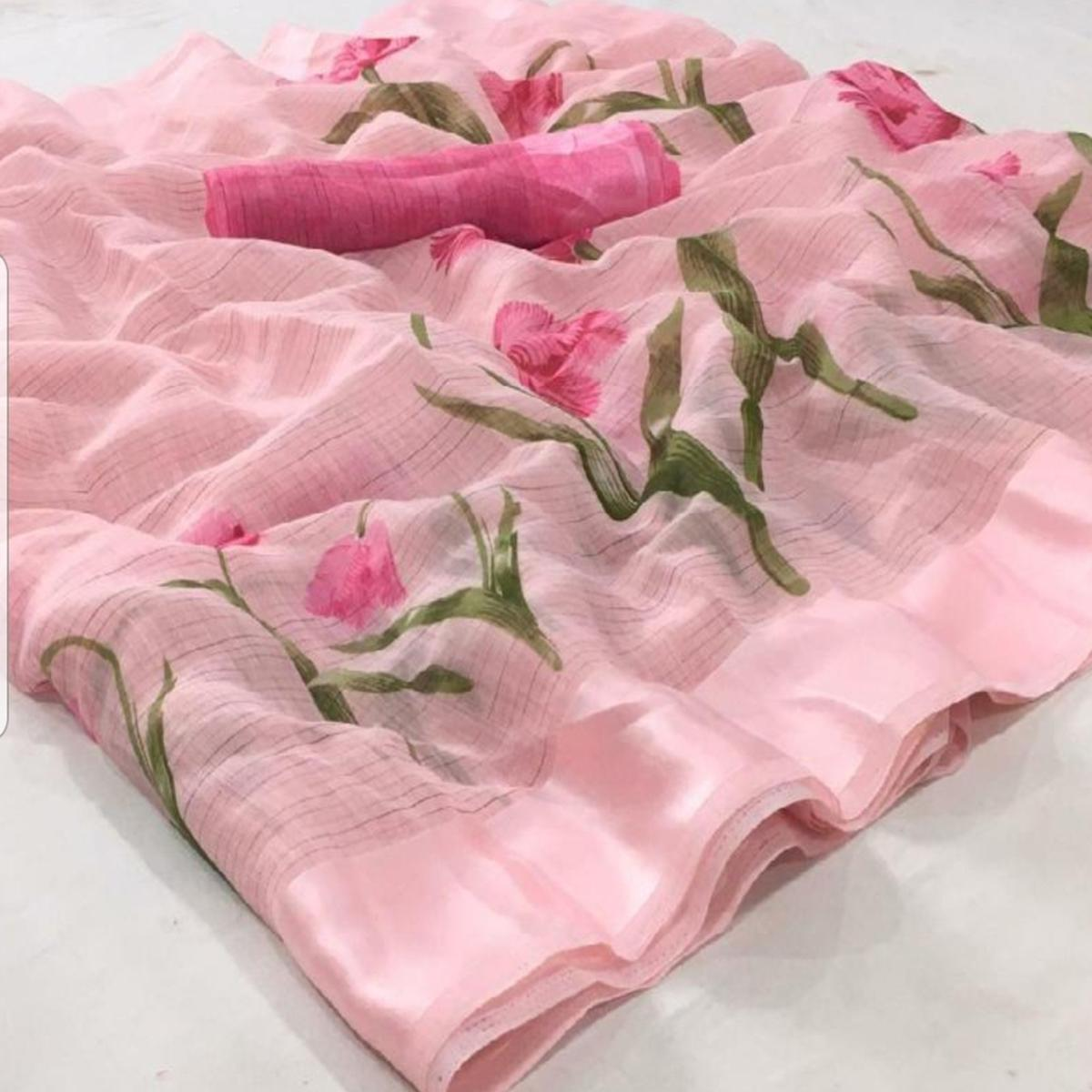 Engrossing Light Pink Colored Casual Wear Floral Printed Linen Saree
