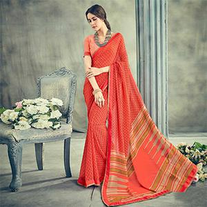 Trendy Orange Casual Printed Georgette Saree