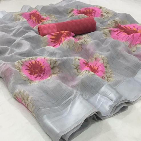 Amazing Light Grey Colored Casual Wear Floral Printed Linen Saree