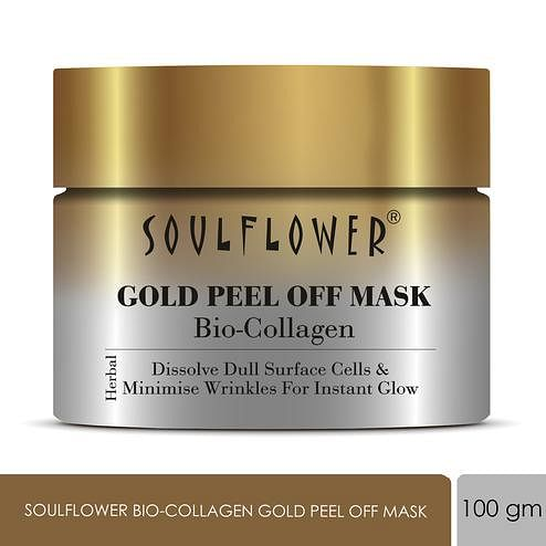 Soulflower Bio-Collagen Gold Peel Off Mask, Dissolve Dull Surface Cells & Minimise Wrinkles For Instant Glow, 100g