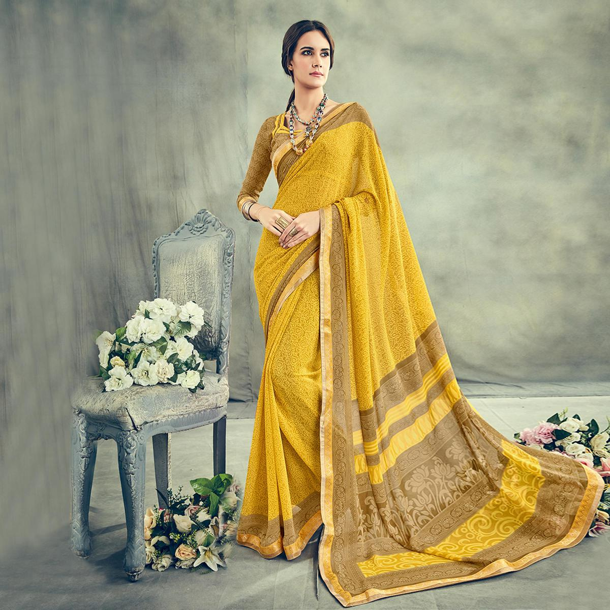 Eye Catching Yellow Casual Printed Georgette Saree