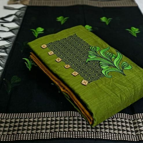 Beautiful Green Colored Partywear Embroidered Cotton Dress Material