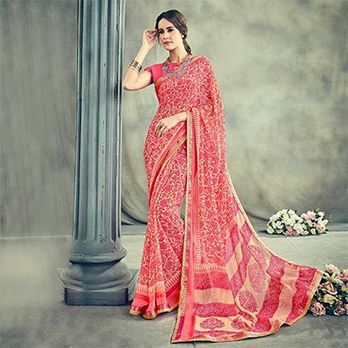 Beautiful Pink Casual Printed Georgette Saree