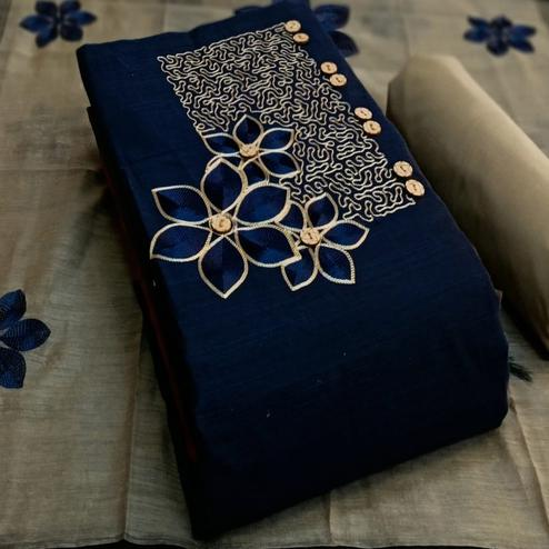 Graceful Navy Blue Colored Partywear Embroidered Cotton Dress Material