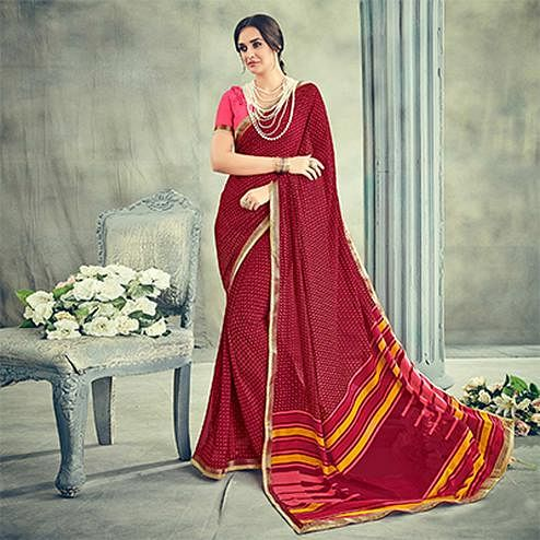 Stylish Maroon Casual Printed Georgette Saree