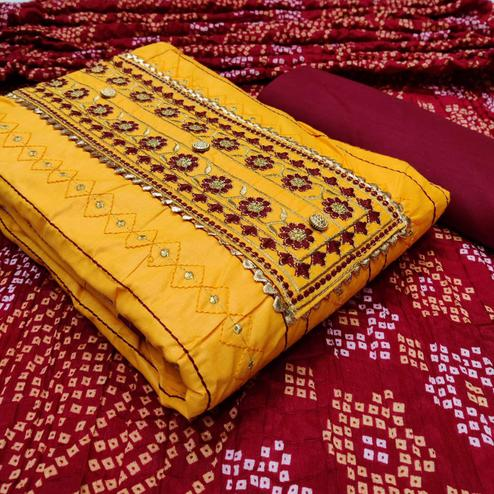 Blissful Mustard Yellow Colored Partywear Embroidered Cotton Dress Material