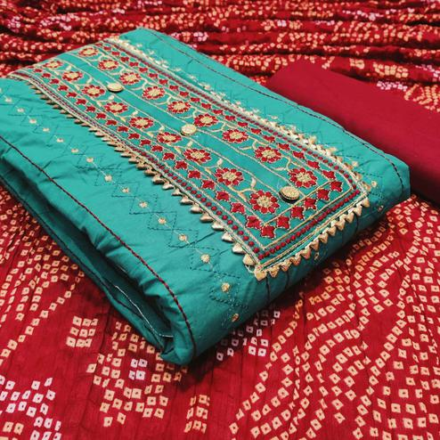 Imposing Rama Colored Partywear Embroidered Cotton Dress Material