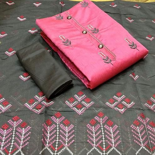 Pleasance Pink Colored Partywear Embroidered Modal Chanderi Dress Material