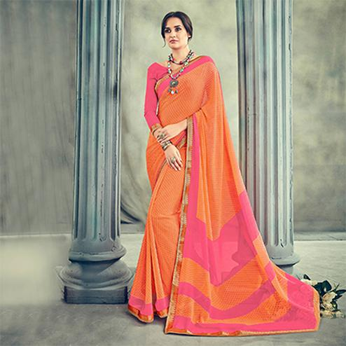 Gorgeous Orange Casual Printed Georgette Saree