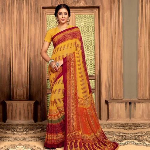 Indian Women Yellow Colored Casual Wear Printed Georgette Saree